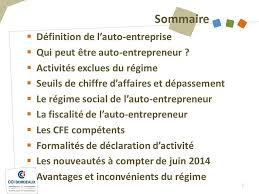 declaration auto entrepreneur chambre des metiers l auto entrepreneur entreprendre avec la cci de bordeaux ppt