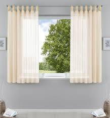 2er pack gardinen transparent vorhang set wohnzimmer voile schlaufenschal mit bleibandabschluß hxb 175x140 cm creme 61000cn