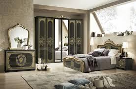 6 teiliges schlafzimmer schwarz hochglanz gold
