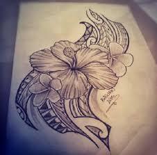 Hibiscus Hawaiian Tribal Tattoos Designs