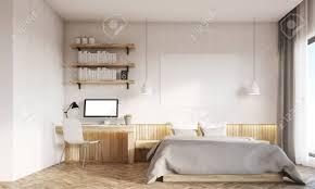 frontansicht schlafzimmer und home office interieur schreibtisch steht in der nähe master bett große panoramafenster konzept zu hause arbeiten