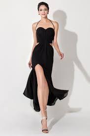 cheap black simple long evening dresses halter chiffon side