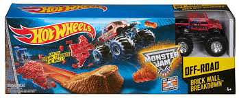 100 Monster Truck Track Set Hot Wheels Jam Brick Wall Break CCP72 Babymommicom