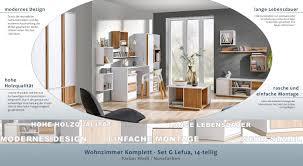 wohnzimmer komplett set g lefua 14 teilig farbe weiß nussfarben