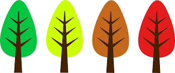Four Simple Autumn Season Trees