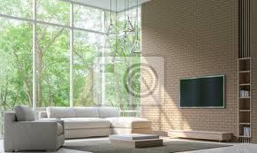 fototapete moderne wohnzimmer dekorieren wand mit backstein 3d rendering
