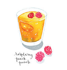Raspberry peach punch watercolor food illustration