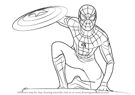 Learn How To Draw Spiderman From Captain America Civil War Step By Drawing Tutorials