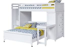 Ivy League White Twin Twin Step Loft Bunk with Chest and Desk