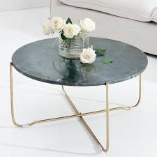 cagü design couchtisch florentin grün aus marmor mit gold gestell 62cm ø rund
