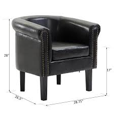 100 Contemporary Armchair PU Leather Tub Club Barrel Design Chair Room Seat