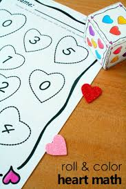 Roll And Color Heart Math Counting Activity For Preschool Kindergarten With Free Printable Hands