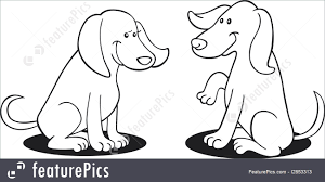 Pets Illustration Of Two Dogs For Coloring Book
