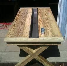 builders showcase rustic outdoor table with trough the design