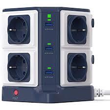 bestek mehrfachsteckdose 8 fach steckdosenleiste steckerleiste steckdosenverteiler mit 6 usb einzeln schaltbar 1500j überspannungsschutz und