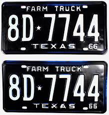 1966 Texas Farm Truck License Plates | Brandywine General Store