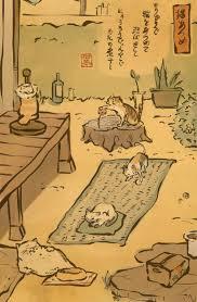 Tri Neko Atsume Cat Kitten Cartoon Mammal Vertebrate Art Text Comics Human