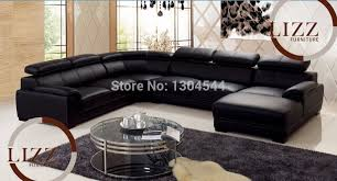 canapé cuir en u noir u forme en cuir canapé dans canapés salle de séjour de meubles