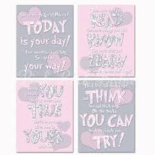 Baby Girl Room Wall Art Nursery Decor Dr Seuss Quotes Kids Artwork Motivational Print Inspirational Poster