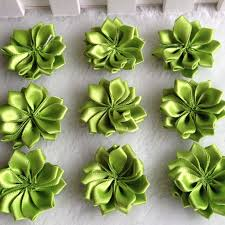 HL 30pcs 35mm Green Double Ribbon Flowers Handmade Apparel Accessories Sewing Appliques DIY Crafts A648