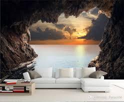 großhandel moderne 3d stereoskopische fototapete wohnzimmer schlafzimmer tv hintergrundbild schönen meerblick höhle wand wandbild wandpapier