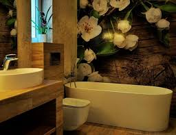 kleine badezimmer kreativ gestalten mit blumen fototapete