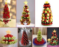 Fruits Christmas Trees From Strawberries Grapes Kiwi Melon