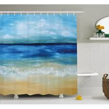 Tropical Window Art Curtains by Art Shower Curtain Tropical Sandy Beach Pure Waves Tranquil Ocean