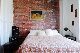 Small Industrial Bedroom With Exposed Brick Wall Photography Corynne Pless