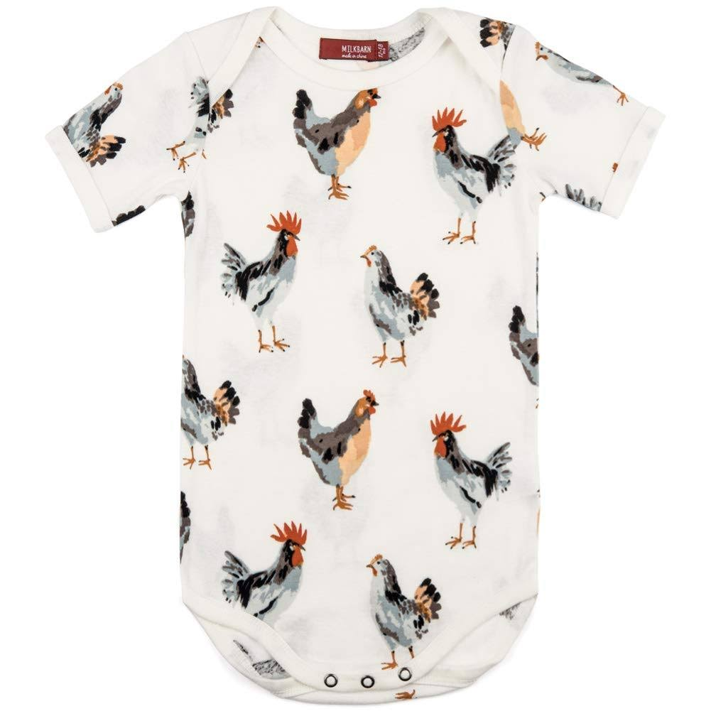 Milkbarn Organic Cotton Short Sleeve One Piece in Chicken