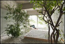 Good Picture Of Garden Landscaping Decoration Using All White Exterior Wall Paint Including Light Gray Pebble Flooring And Decorative Herb