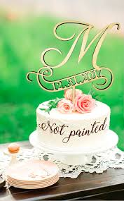 M Cake Topper Rustic Monogram Wedding Personalized Toppers Wooden