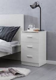 wohnling nachttisch weiß wl5 868 38x66 5x35cm holz nachtkonsole hochglanz nachtkästchen für boxspringbett schlafzimmer bett tischchen