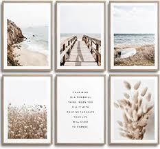 monoko wohnzimmer poster set schlafzimmer bilder set premium stilvolle wandbilder 6er set ohne rahmen set beige pasgras meer 6x a4 21 x