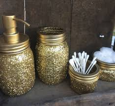 Cute Girly Bathroom Sets by Gold Glitter Mason Jar Bathroom Setsoap Dispenser By Bbahomemade