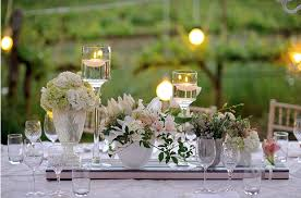 Rustic Wedding White Tablescape Outdoor