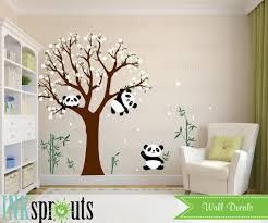 stickers panda chambre bébé sticker chambre panda fleur arbre sticker dort panda panda