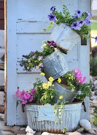 Shabby Chic Pail Tower Planter