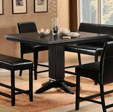 Full Black Tall Kitchen Table With Leather Chairs And Bench