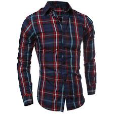 Casual Turn Down Collar Color Block Checked Print Slimming Mens Long Sleeves Shirt