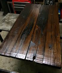 table top made from old railroad ties these were milled then