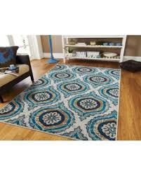 Contemporary Area Rugs Ivory 5x7 Blue Modern Cream Kitchen Or Dining Room Rug 5x8