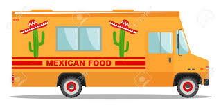100 Mexican Food Truck Flat Design Vector Cartoon Colorful Illustration Of