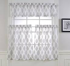 Amazon Lace Kitchen Curtains by Amazon Com Mysky Home Fashion 3 Pieces Jacquard Kitchen Sheer