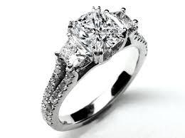 Engagement Ring Three Stone Cushion Cut Diamond Vintage Style Split Band For Large Diamonds 162 Tcw ES605CU