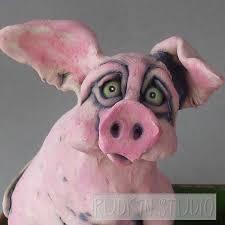 Pink Pig In Dump Truck Sculpture - Joy Ride - Rudkin Studio