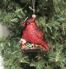 Image Is Loading Red Cardinal Glass Christmas Tree Ornament Figural Bird