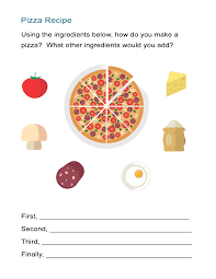 Transition Words Worksheet The Pizza Recipe Cooking Instructions