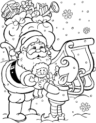 Rudolph Reindeer Coloring Pages Santa Claus Giving Christmas Presents To Kids