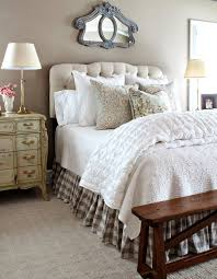 Chocolate Beige gingham bed skirt Queen size buffalo check bed